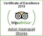 Aston Kaanapali Shores has earned the Trip Advisor Certificate of Excellence for the year 2019 for consistently receiving excellent traveler reviews