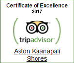 Aston Kaanapali Shores has earned the Trip Advisor Certificate of Excellence for the year 2013 for consistently receiving excellent traveler reviews